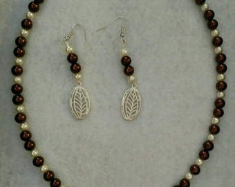Necklace and Earring Set Made with Brown and Cream Pearl Beads and Matching Silver Leaf Pendant