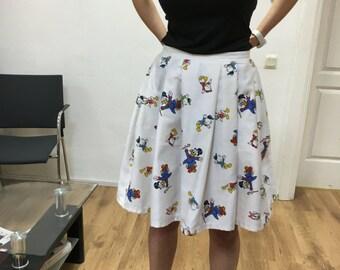 disney skirt, donald duck skirt, white, vintage fabric, cotton skirt
