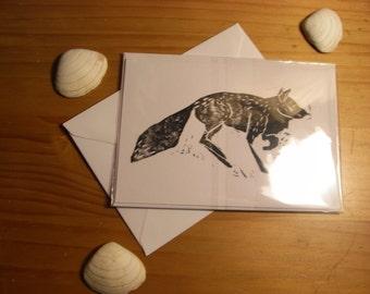 Little fox card, lino printed card, lino print, animal card, fox card, autumn card, note cards, note card