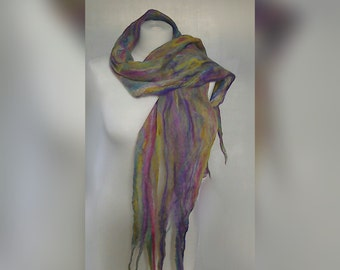 Scarf - fine hand felted merino wool cobweb scarf, pastel colours