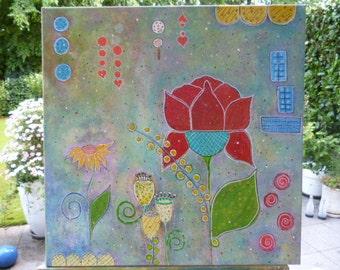 Acrylic painting fantasy flowers 59cmx59cm