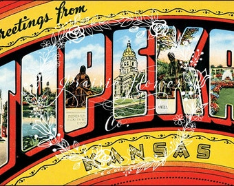 Greetings from california vintage postcard image instant greetings from topeka kansas vintage postcard image instant download m4hsunfo Gallery