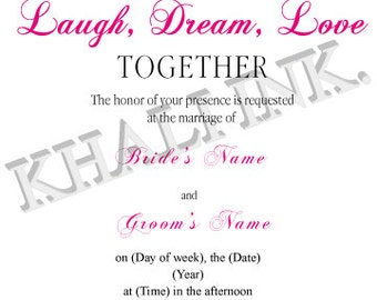 Laugh, Dream, Love Wedding Invite and RSVP Card