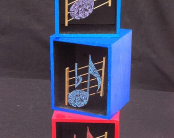 Musical note on staff 3D Mini Shadowbox