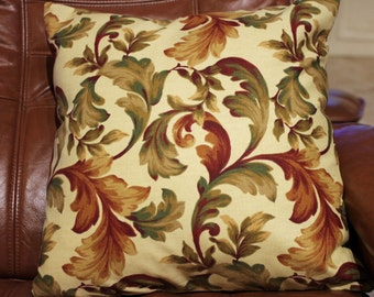 Red and green floral pillow cover 16 X 16
