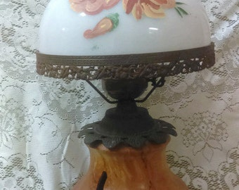 Antique Table Lamp Gone with the Wind accurate casting lamp/Vintage Lamp/Home Decor/Victorian Decor/Hurricane lamp/Hand painted/