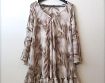 HANADEEN Flare Dress - V-neck, Flared Sleeves