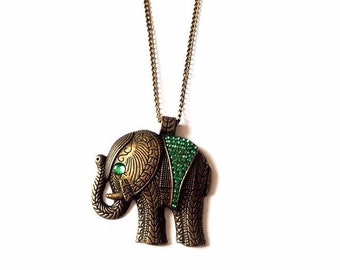 Bronze Tribal Elephant Necklace