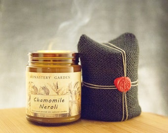 8 oz CHAMOMILE NEROLI Scented candle,soy candle, natural wax candle, vegan