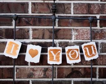 I <3 You - Valentine Banner - Handpainted Metallic Wash