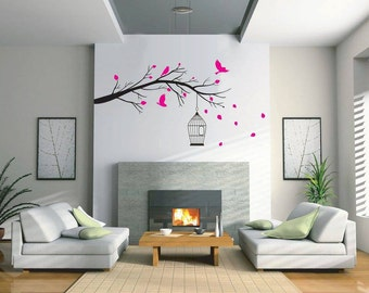 Branch and Birdcage wall decal - vinyl wall sticker, available in 25 matt vinyl colours