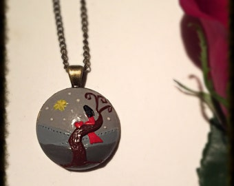 Pendant handmade from polymer clay- alone but never lonely