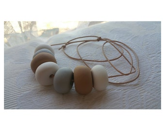 Polymer Clay Necklace - Neutral