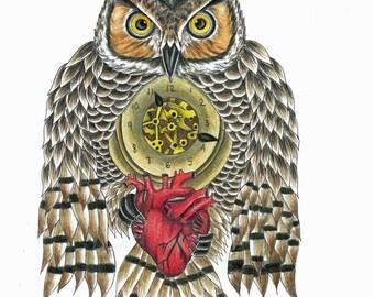 Owl Pocket Watch Print