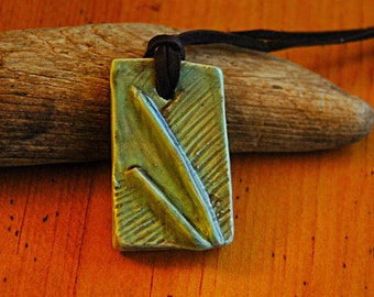 Green and brown ceramic pendant necklace