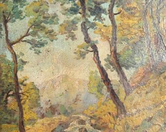 Vintage oil painting mountain forest river landscape signed