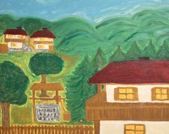 Vintage oil painting mountain village naivism