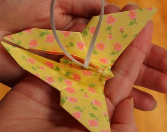Yellow Origami Butterfly Ornament