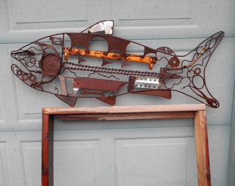 salmon metal art rusty and recycled tools