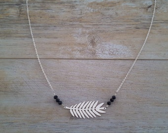 Feather necklace, sterling silver, black onyx pearls, hand made