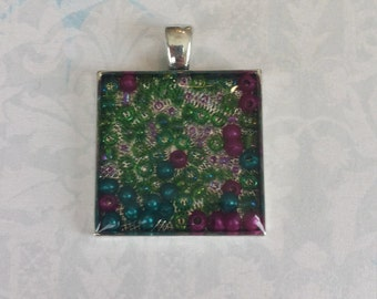 Bead Necklace Resin Square Pendant