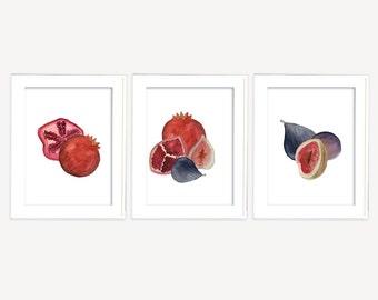 Set of 3 Fruit Prints, 3 for 2 printable wall art, Pomegranate Print, Fig Print, Pomegranate and Fig, Kitchen Printable, Printable Wall Art