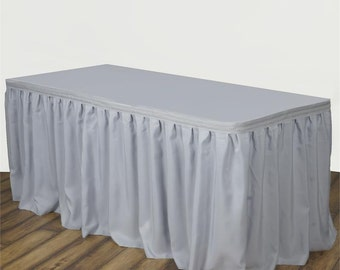 Silver Polyester 14ft table skirt ALSO available in black, red, purple and royal blue.