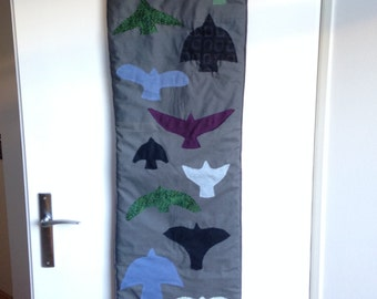 Birds Wall hanging Applique Blue Green Purple Gray