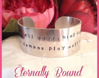 BDSM Aluminium hand stamped cuff bracelet,submissive,slave,kinky gift