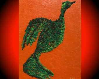 Green bird Original acrylic art Abstract paintings Large modern art Red wall decor Canvas Textured Palette Knife Mosaic Art Unique gifts