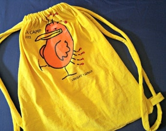 JA CAMP T-Shirt Bag Re-purposed Upcycled 100% Cotton Drawstring Handmade Tote Bag made from Recycled T-Shirts