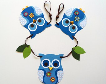 owl banner, blue owl banner, owl garland, owl baby shower decor, nursery wall decor, woodland nursery, baby shower gift boy, owl decor