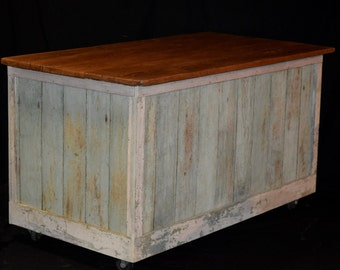 Reclaimed Store Counter, Kitchen  Island, Shop Counter, Chestnut Bead Board W/ Old Green Paint, Thick Hemlock Top, Much Storage, W/Casters