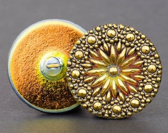 Czech Glass Button - Round North Star Button - North Star Orange Antiqued Gold with Gold Paint - 27mm Button