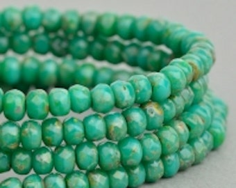 Czech Glass Beads - Czech Glass Rondelles - Turquoise Green Opaque with Picasso Fullcoat Beads - 3x2mm - 50 Beads