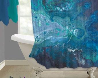 Shower Curtain Teal Navy Blue Aubergine Bohemian Style Aqua