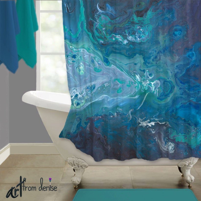 Blue Abstract Shower Curtain Teal Aqua Gray Turquoise Modern