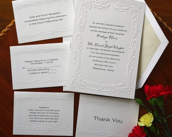 Splendor Embossed Border Invitations - Elegant Wedding Invitation Set - Thermography Wedding Invite - Traditional Wedding Invite - AV841