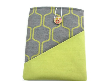 Grey abstract iPad air sleeve, Fabric iPad case, Galaxy Tab pouch, iPad 2 cover, iPad pouch, Asus tablet wallet, 10 inch case, lime Ereader