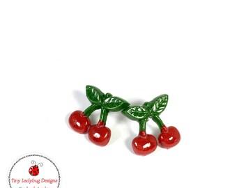 Tiny polymer clay cherries stud earrings.
