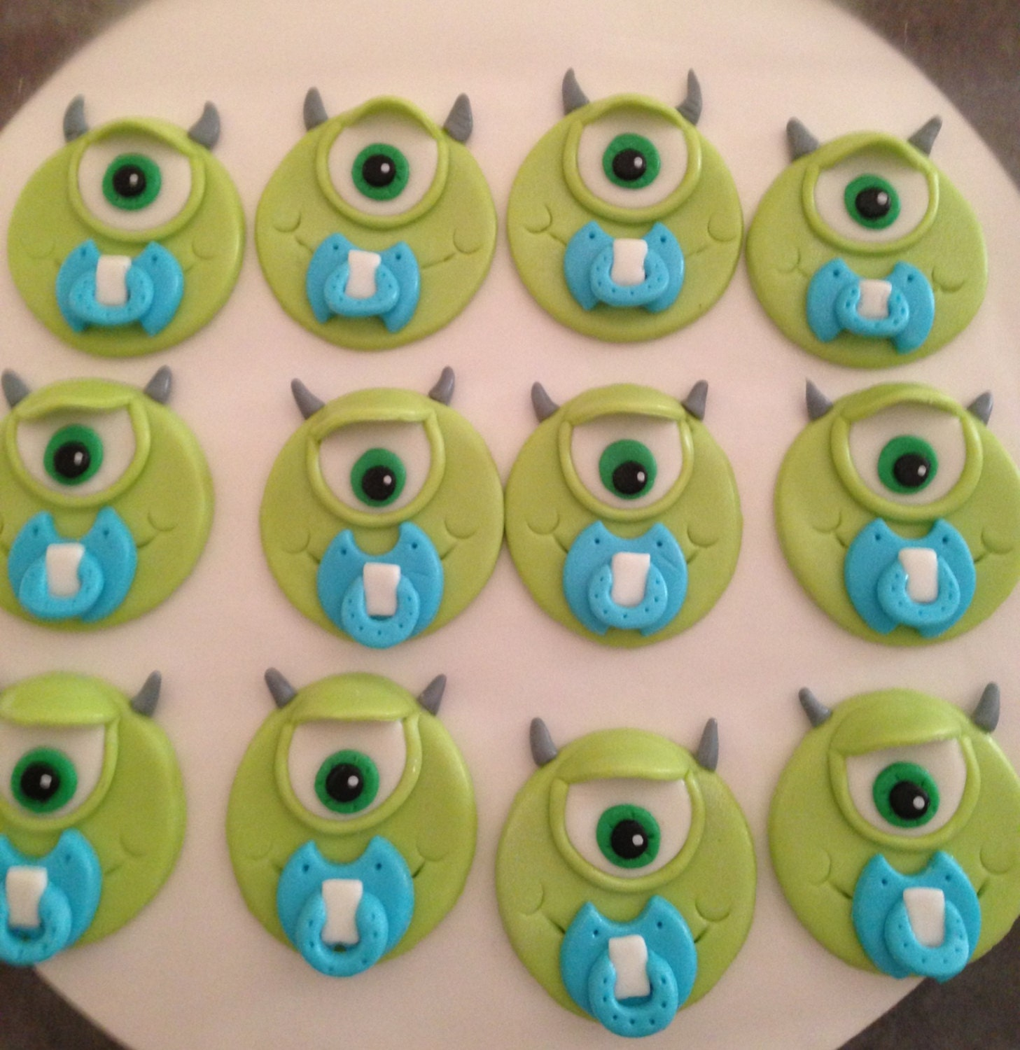 """Monsters Inc """"Mike Wazowski"""" Baby Shower Cupcake Toppers from"""