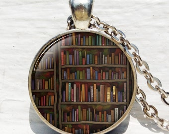 Antique book pendant ,Shabby Bookshelf necklace, book pendant book jewelry book jewelry librarian gift book lover gift book necklace