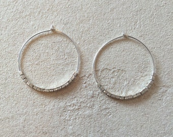 Simple Sterling Silver Hoops with Karen Hill Tribe Thai Silver Beads