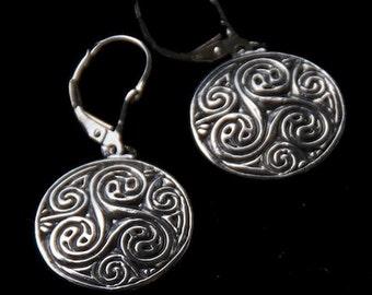 Sterling silver spiral disk earrings