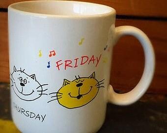 Hallmark Cat Mug: Days of the Week Friday 1985 Vintage collectible mug