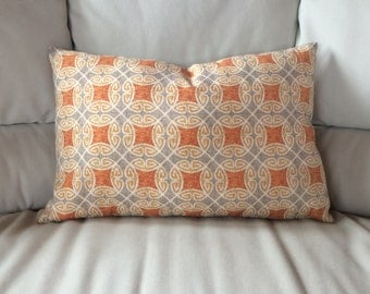 "CHIC MOSAIC Printed PATTERN Orange Gray 14""x22"" Pillow Cover 35cmx53cm"