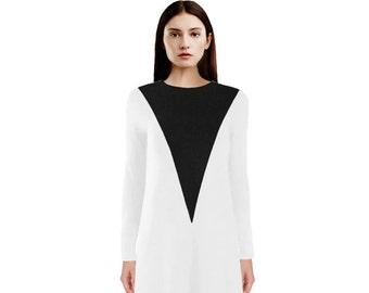 Geometric White & Black Dress / V-Neck Dress / Color Block Dress / Long Sleeve Black and White Dress / Black Dress / White Dress / Geo Dress