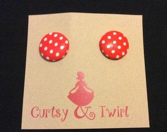 Red and White Polka Dot Earrings, Post Earrings, Button Earrings