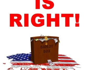 BERNIE IS RIGHT-Democracy Not Plutocracy, Bernie Sanders Posters, Political Cartoons, Photo Prints, Photographs, Campaign Finance Reform