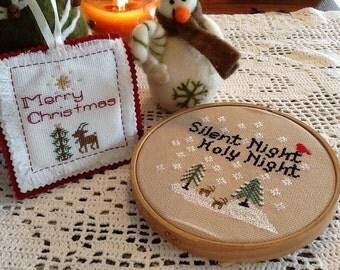 Woodland  Set Christmas Pattern Cross Stitch, Silent Night Woodland and Rudolph Cross Stitch.